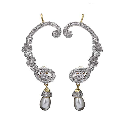 CaratYogi Ear Cuffs 14K Gold Plated Intricately Studded with Sparkling White Cubic Zircon Pear Floral Style with Single Pearl Drop Party Wear Earrings Jewellery for Women and Girls