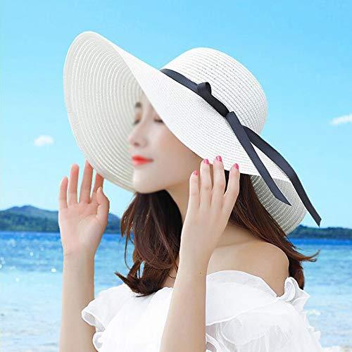 Grote Brim Hat, Inklapbare zonnehoed Dames, Sun Protection Beach Hat, Geschikt voor fietsen, vrije tijd Winkelen, Reizen, Vakantie, Fotografie,White