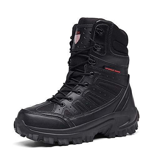 Bititger - Botas de desierto militares de piel, impermeables, con cremallera, botas tácticas y de combate para hombre, para patrullas, de seguridad, para policías, color Negro, talla 44 EU