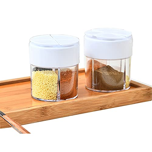 2 Pack Travel Salt and Pepper Shakers Mini, 4 in 1 Travel Salt Storage Box, Plastic Spice Seasoning Containers Dispenser Salt Shaker, Camping Travel Spice Kit for Home, Kitchen, Cooking, and BBQ