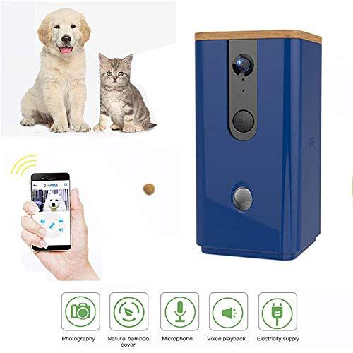 CAISYE Automatische Tierfütterung, Full HD WiFi Smart Pet Kamera Zweiwege-Audiokommunikation mit Nachtsicht Hundefutter Dispenser Monitor für Hund und Katze,Blau
