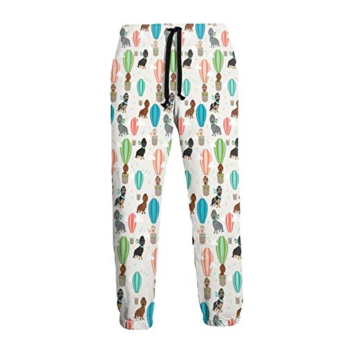 Hangdachang Dachshund Dog Hot Air Balloon Men's Sweatpants Casual Pants Soft Joggers Sport Pants XL