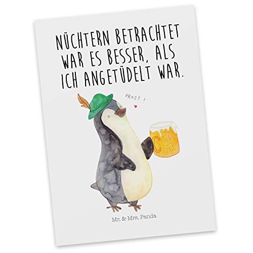 Mr. & Mrs. Panda Karte, Ansichtskarte, Postkarte Pinguin Bier mit Spruch - Farbe Weiß