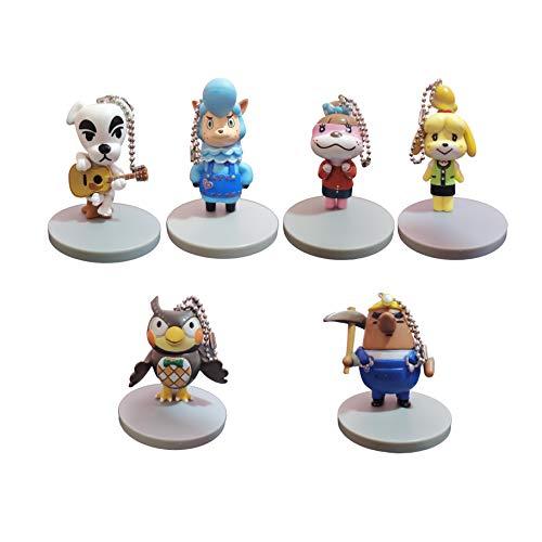 QIMA Tierkreuzungspuppe EIN Satz von 6 Schlüsselanhänger, Wildtier Mori Xi Shihui Puppe Spielzeug Waschbär Tier Sen Youhui herum