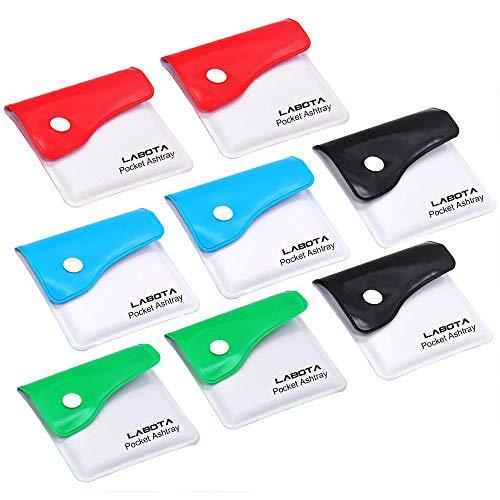 LABOTA 8 Pack Taschenaschenbecher Mini Aschenbecher in die Irre Tasche - feuerfestes PVC - Geruchsfrei - Tragbare Kompakt