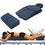 AMETHYST LAKE Pregnancy Massage Cushion with Headrest – Full Body Prenatal Bolster Positioning System – Ideal for Lower Back Pain and After Breast Surgery - Blue