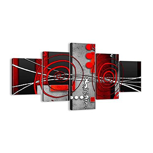 Quadro su tela - 5 Parties - Grafico figure geometriche cerchio - 125x70cm - Pronto da appendere - Home Decor - Stampe su Tela - Quadri Moderni - completamente incorniciato - EA125x70-0599