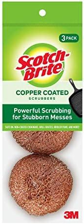 3M 213C Scotch-Brite Copper Coated Scour Pads Scrub Pads Powerful 3 Pads 4-Pack