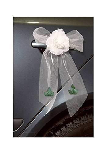 4 noeuds voiture mariage rose blanche