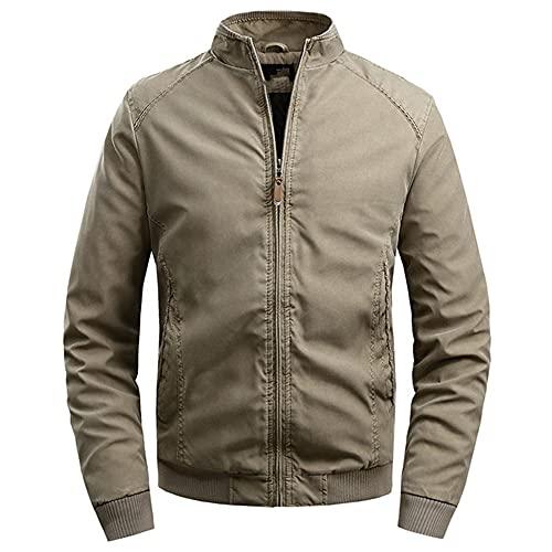 Más chaquetas para hombre de algodón cuello de pie chaqueta de hombre casual simple color sólido, caqui, XL