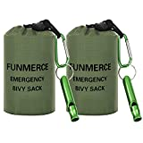 FUNMERCE Emergency Sleeping Bag, Compact Survival Bivy Sack Use as Waterproof Thermal Emergency Blanket with Survival Whistle and Carabiner, for Outdoor Adventure(Green,2 Packs)