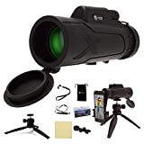 High Powered Monocular Telescope for Adults - Portable Grip Scope Monoculars with Bak4 Prism & Fmc Lens - Wide Shooting Range of 1000 Yards / 220 Feet - Includes Smartphone Holder & Extendable Tripod