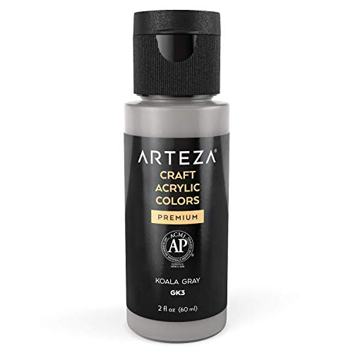 Arteza Craft Acrylic Paint GK3 Koala Gray, 60 ml Bottles, Water-Based, Matte Finish, Blendable Paints for Art & DIY Outdoor Projects on Glass, Wood, Ceramics, Fabrics, Paper & Canvas