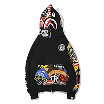 Trendy fashion camouflage men s and women s youth hoodie sweatshirt casual zipper hip-hop top jacket  Large C01-Black