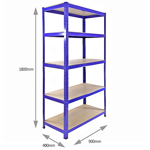 5 Tire Mental Shelving Unit Storage Racking Shelving Garage Warehouse Shed Blue 175kg per Shelf,875kgs Capacity Garage shed Storage Shelving
