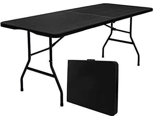 Mesa de jardín Amanka para 6 Personas, 180 x 74 cm, Plegable, Aspecto de ratán, Color Negro