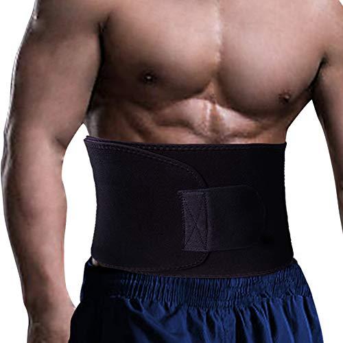 "QUANFUN Waist Trimmer Adjustable Waist Trainer Belt Women Men Neoprene Band for Weight Loss, Sweat Enhancer, Stomach Belly Slimming, Workout, Black, Small Size – (W) 8""x (L) 35"""