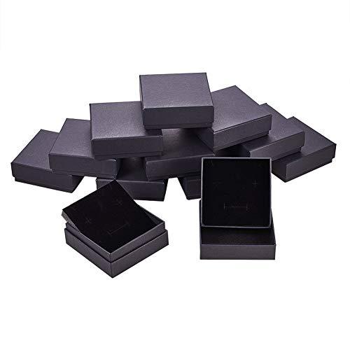 BENECREAT 12 Pack Negra Caja de Joya Caja de Cartón Craft con Almohadilla de Terciopelo Elegante para Presentación de Anillo Pendientes Collar 10x10x3.5cm