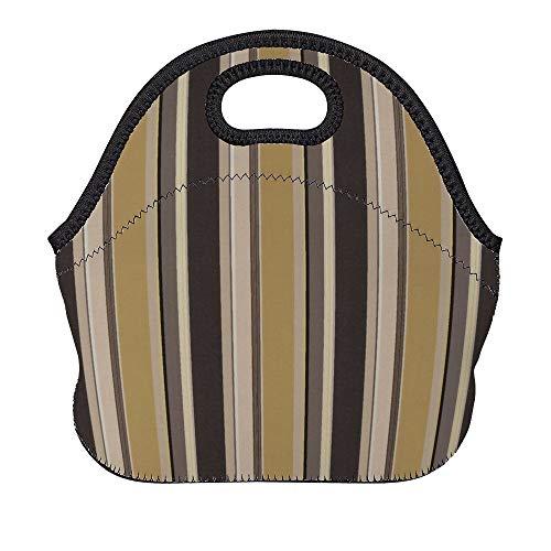 DKISEE - Bolsa térmica de neopreno para almuerzo, reutilizable, suave, con correa para el hombro para el trabajo y la escuela, bolsa Bento para mujeres, hombres y niños, multicolor a rayas marrón