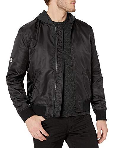 The Kooples Men's Men's Zip-up Bomber Jacket with Fleece Hood, Black, Large