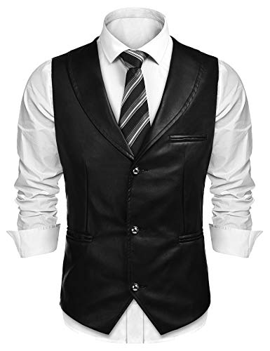 COOFANDY Men's Leather Vest Casual Western Vest Jacket Slim Fit V Neck Suit Vest Waistcoat Black