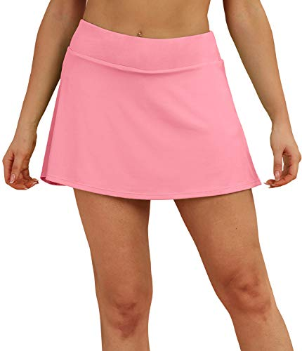 icyzone Athletic Skirts for Women - Workout Running Golf Tennis Skort with Pockets (Hot Pink, M)