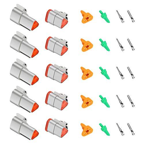 5 Set Auto Wasserdichter Elektrischer Steckverbinder, Bolatus 3 Polig DT Serie Kabelstecker KfZ Industrie Stecker Autoelektrischer Kabelverbinder für Auto LKW Boots Kabel Steckverbinder Stecker