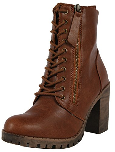 SODA Women's Malia Faux Leather Lace Up Chunky Ankle Boot Tan, 8.5