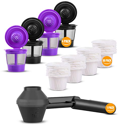 Reusable K Cup with 50 Pack Paper Coffee Filter & 1 Pack Coffee Scoop, Universal Refillable Coffee Pod (4 Pack)