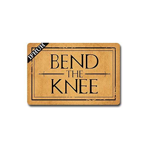 IFHUH Bend The Knee, felpudo divertido de bienvenida de Juego de Tronos, tapete de goma antideslizante para puerta delantera, tapete divertido para interiores y exteriores, 76,2 cm de ancho x 45,7 cm de largo