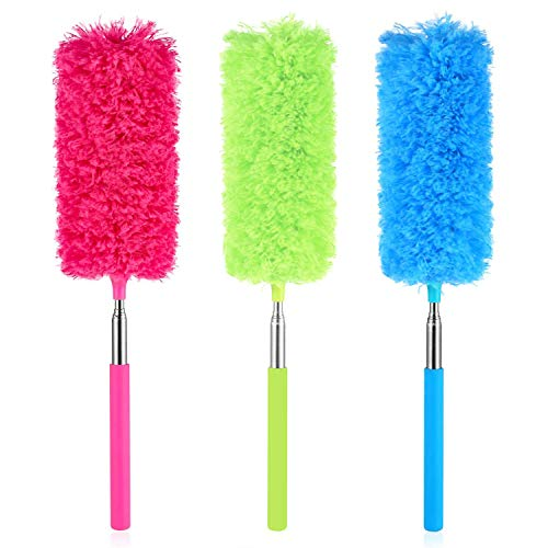 FXCIST Extendable Microfiber Feather Duster Microfiber Duster Dusting Brush with Extendable Pole Washable Duster Head for Home Office Car 3 Set (3colour, 3 Set)
