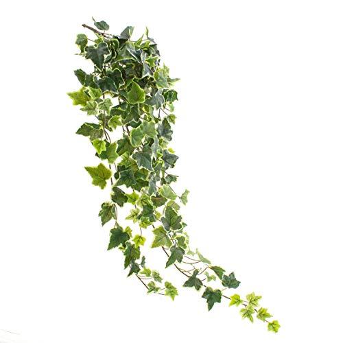 artplants.de Viticcio di edera Artificiale con 190 Foglie, Verde-Bianco, 85cm- Edera Decorativa - Cespuglio di edera