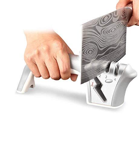 Afilador Cuchillos Profesional, Sebami 4 en 1 Afilador Cuchillos de Cocina Knife Sharpener Afiladores Manuales para Cuchillos de Todo tamaño del hogar (Gris)