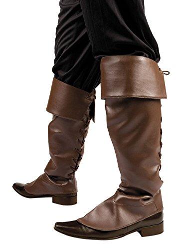 Boland 81993 - Stiefelstulpen, Braun, Stiefeletten, Synthetikleder, Pirat, Musketier, Bandit, Räuber, Accessoire, Motto Party, Karneval