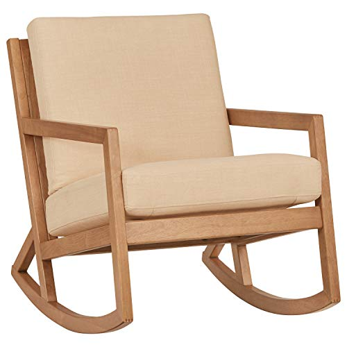 "Amazon Brand – Stone & Beam Modern Hardwood Rocking Chair, 24.5""W, Beige"