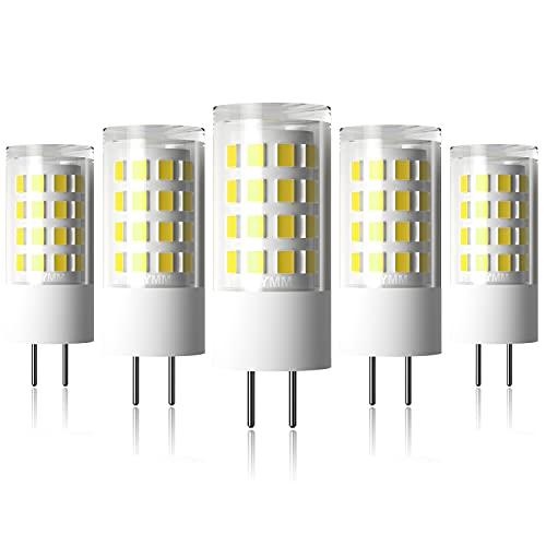 Ymm G6.35 GY6.35 Alto Brillo Bombilla LED 5W Equivalente a Lámpara Halógena de 45W,AC 12V,Blanco Frío 6000K(5 unidades) [Clase de eficiencia energética A+]