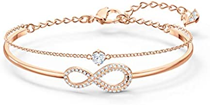 SWAROVSKI Women's Infinity Knot Rose-gold Finish Bangle Bracelet, White Crystal