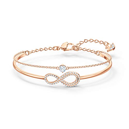 SWAROVSKI Women's Infinity  Rose-gold Plated Bangle Bracelet, White Crystal