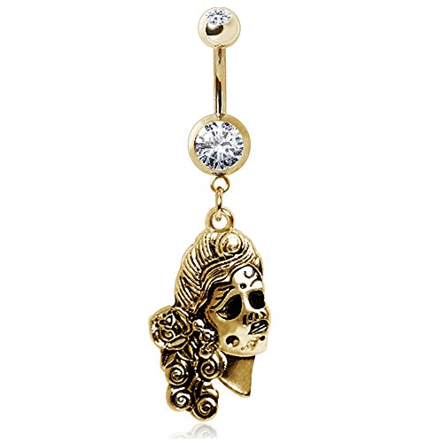 Gemmed Navel Ring with Undead Siren Dangle Gold Plated 316L