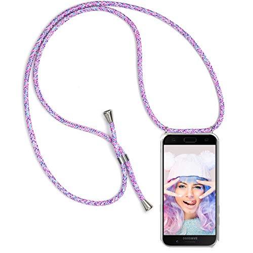 ZhinkArts Handykette kompatibel mit Samsung Galaxy A5 2017 (A520) - Smartphone Necklace Hülle mit Band - Schnur mit Case zum umhängen in Unicorn