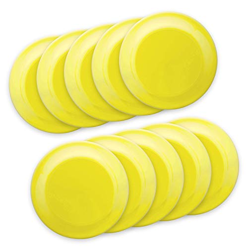 Frisbee Flying Discs -10 pack -9.25 in. Ultimate Frisbee Beach Sports Backyard Disc Golf Game - Yellow
