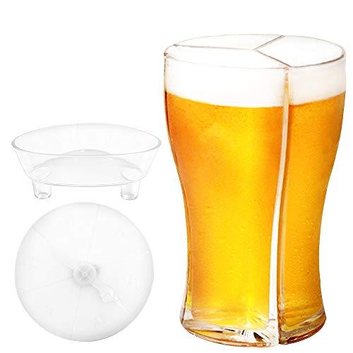 Alihoo Vasos de cerveza 3 en 1, jarra de cerveza acrílica transparente separable para bar, fiesta, familia, fiesta de cumpleaños y más camping al aire libre con dispensador de vino y plato salvaje
