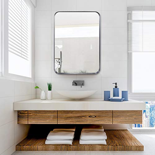 5cm Thick, Bathroom Mirror, with Stainless Steel Metal Frame Rounded Corner, Rectangle Mirror, Wall Mirror for Bathroom, Black Mirror, 22