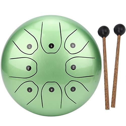 Tambor de lengüeta en sánscrito, tambor de lengüeta de acero fácil de transportar para rendimiento al aire libre para uso doméstico(green)