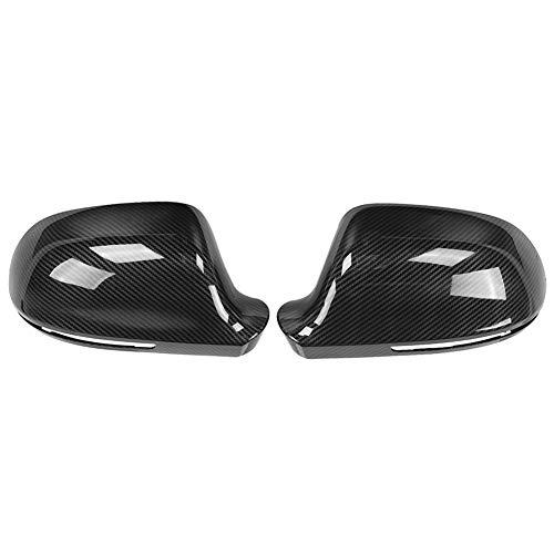 【2 piezas】 Carcasa del espejo retrovisor de fibra de carbono, marco del espejo retrovisor del coche Pieza de repuesto del espejo retrovisor Carcasa del espejo retrovisor apto para A4 B8(Nonporous)