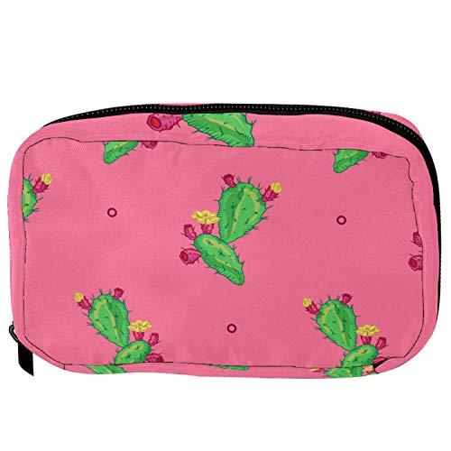 Trousse de toilette de voyage pratique avec fleur de cactus verte et fond rose