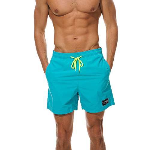 Men Beach Shorts, JOYFEEL Casual Quick Dry Loose Swim Trunks Elastic Drawstring Running Workout Board Pants Short Sky Blue