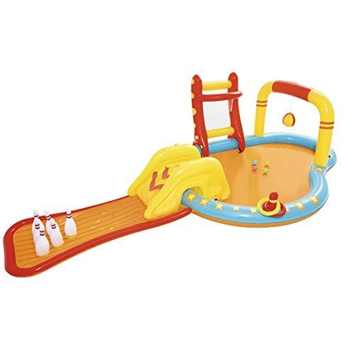 BHDesign Piscina Hinchable Infantil con Tobogan, Centro Juegos Hinchable, Familiar Piscina, para Bebés, Niños, Niños, Bebés Y Niños Pequeños (con Bomba)