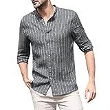 FAZA Camisa de verano a rayas para hombre, de algodón y lino, para hombre, estilo simple, informal, elegante, suave y cómodo