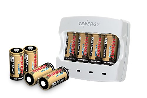 Tenergy 3.7V Arlo Battery Fast Charger and 650mAh RCR123A Li-ion Rechargeable Batteries for Arlo Wireless Security Cameras (VMC3030/VMK3200/VMS3330/3430/3530),UL UN Certified, 8-Pack